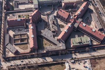 aerial view of a city Prison