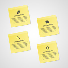 Abstract yellow note paper options infographics template.