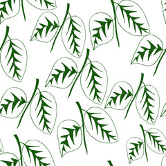 Seamless pattern with leaves plants