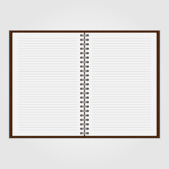 Vector open blank notebook and reminder note.