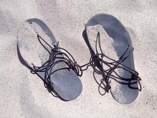 Minimalist sandals in sand