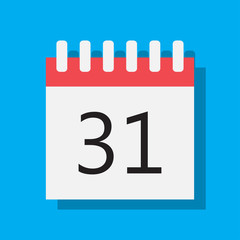 31-day calendar on a blue background vector graphics