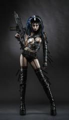 Futurictic girl in sexy hunter costume