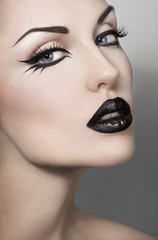 Portrait of sexy woman with black lips