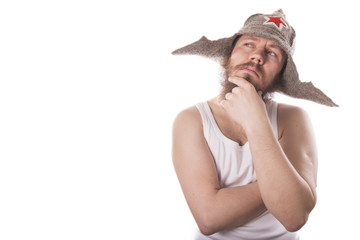 bearded man in a hat on a white background