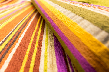 Colorful rainbow striped fabric for clothing or upholstery