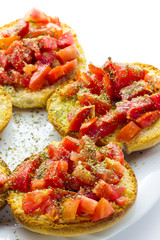 Italian bruschetta with tomato and italian bread frise