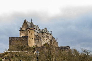 Vianden castle in cloudy winter day, Luxembourg