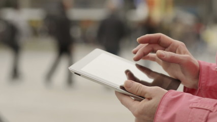 Woman Using Touchpad in a public place