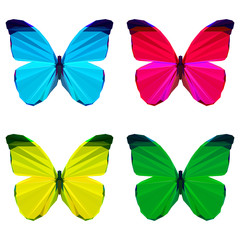bright colored geometric polygonal abstract butterfly set