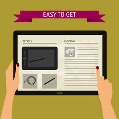 concept of hand holding digital tablet with website. Flat design