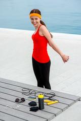 Woman having exercise