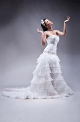 Beautiful bride in long wedding dress