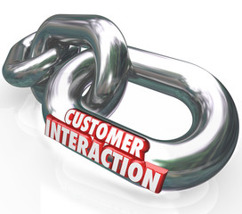Customer Interaction 3d Words Chain Links Partnership Engagement
