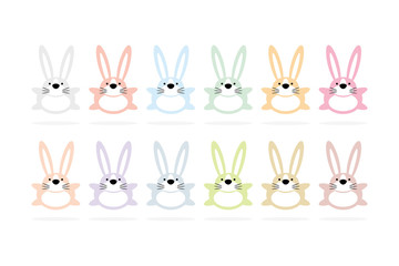 12 bunny cartoon animal character