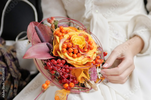 Orange wedding bouquet