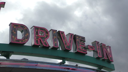 Drive in diner neon sign from the 50s