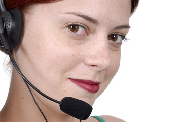 Call center woman telephone headset