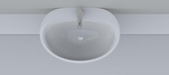 Ceramic sink in bathroom