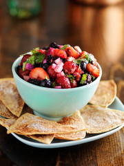 sweet and spicy berry salad with cinnamon sugar tortilla chips