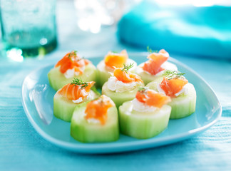 cucumber with dill cream cheese and smoked salmon appetizer
