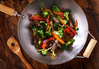 asian wok stir fry shot from over head