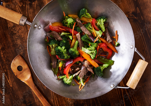 asian wok stir fry shot from over head Poster
