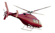 Red Rescue Helicopter. Isolated with Clipping Path.