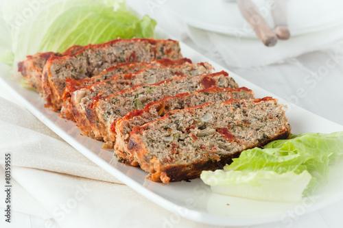 Poster sliced turkey meatloaf