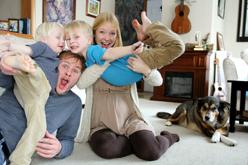Funny Happy Family Portrait at Home