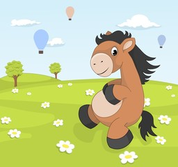 Spring landscape with cartoon pony on blooming meadow