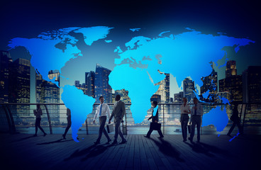 Global Business People Commuter Walking City Life Concept