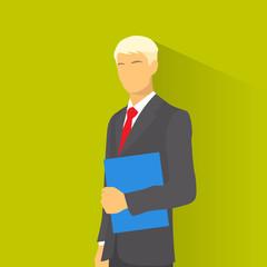 Businessman wear elegant fashion suit hold blue folder, business