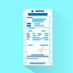 financial bill document, invoice order payment check flat design