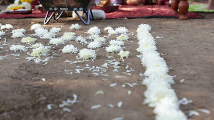 white flower path in front of indian bridal altar