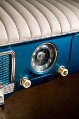 Old car interior, close up photo