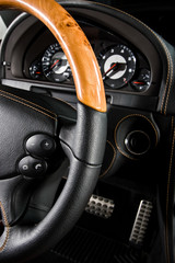 Modern car interior, close up photo