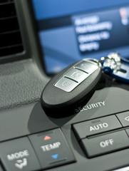 Electronic car key close up photo