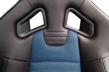Sport car seat, close up photo