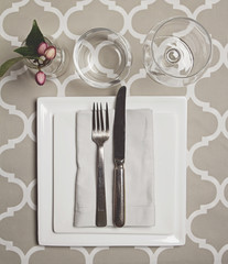 Overhead view of a moroccan fine dining table setting