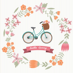 The vintage flower wreath with bicycle