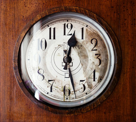 Antique grandfather clock, close up photo