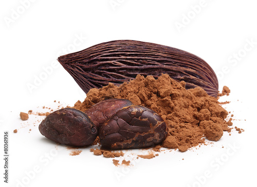 Fotobehang Aromatische Cacao beans and powder isolated