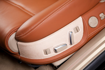 Passenger seats in modern  comfortable car, close up photo