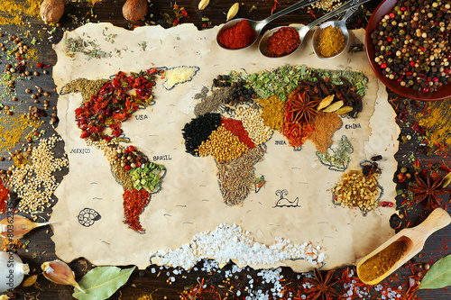 Leinwandbild Motiv Map of world made from different kinds of spices
