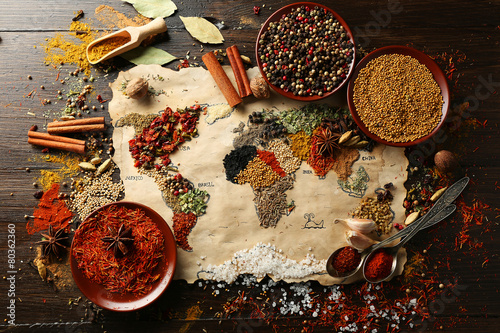 Map of world made from different kinds of spices - 80362360