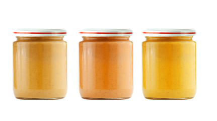 Jars of baby puree isolated on white