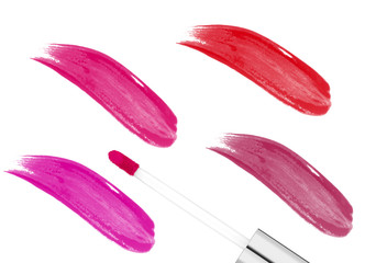 pink lipgloss isolated on white