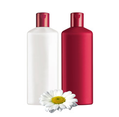 Plastic bottles shampoo isolated on white background