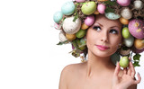 Fototapety Easter Woman. Portrait of Beautiful Model with Colorful Eggs.
